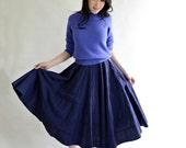 NAVY Blue Cotton Circle Skirt XS Vintage 50s