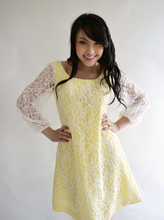 Yellow White Lace Vintage 60s Summer Dress Poet Sleeves A-Line S 34 Inch Bust