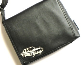 Retro car applique black messenger bag by missy mao mao on etsy.