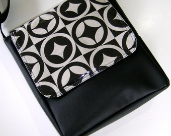 Black and White Messenger Satchel Styled Cross body handmade Pat Bag.