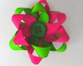 Pink and Green Flower Loopy Bow
