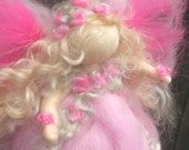 Needle felted Pink Flower Fairy Waldorf inspired Wool Angel By Rebecca Varon - blessing angel