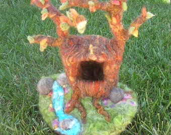 Felted Tree Playscape-n-boulders brook - Waldorf-Inspired Needle Felted wool playscape