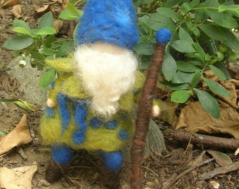 Blueberry King - Waldorf Inspired gnome Elsa Beskow inspired - Needle Felted Soft Sculpture - bendy