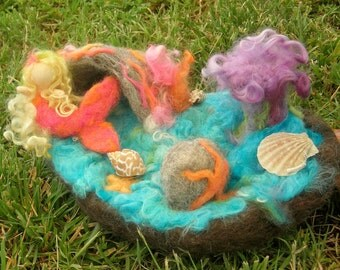 Mermaid and her Sea Cave play set - needle felted custom playmat Waldorf Inspired Made to Order
