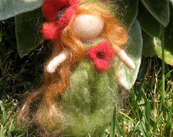 Wee Fairy Poppy Maiden -  Needle felted wool soft sculpture - Waldorf Inspired by Rebecca Varon