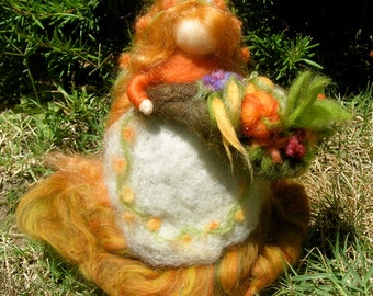 Needle Felted Art Doll Harvest Fairy Maiden with Cornucopia made to order Waldorf inspired wool autumn standing doll