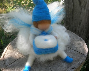 Tooth fairy - Boy - Waldorf Inspired Needle Felted in Blue and White Waldorf Inspired by Rebecca Varon