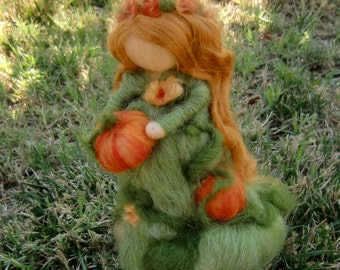 Wool Doll - Pumpkin Fairy Maiden - Made to order - Waldorf inspired needle felted autumn by Rebecca Varon