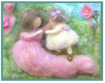 Printed Note Card - First Steps II -image from wool painting -  Free US Shipping
