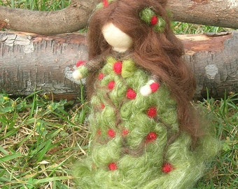 Wool Fairy - Holly BerryMaiden - Needle felted  Waldorf Inspired...
