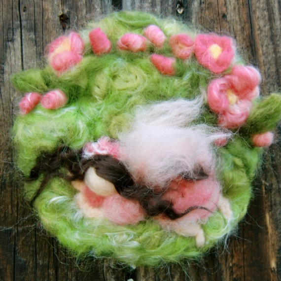 Napping Fairy Under the Roses- Mini Needle Felted Wall hanging / sculptural wool painting Waldorf inspired by Rebecca Varon