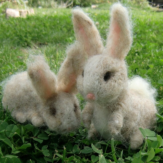 "Reserved for Mary L - Felted Bunny Set - ""Bunny Love"" two needle felted rabbits by Rebecca Varon Nushkie Design - Waldorf Inspired"