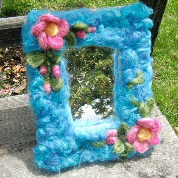 Needle Felted Wool  and wood Mirror - Waldorf inspired by Rebecca Varon