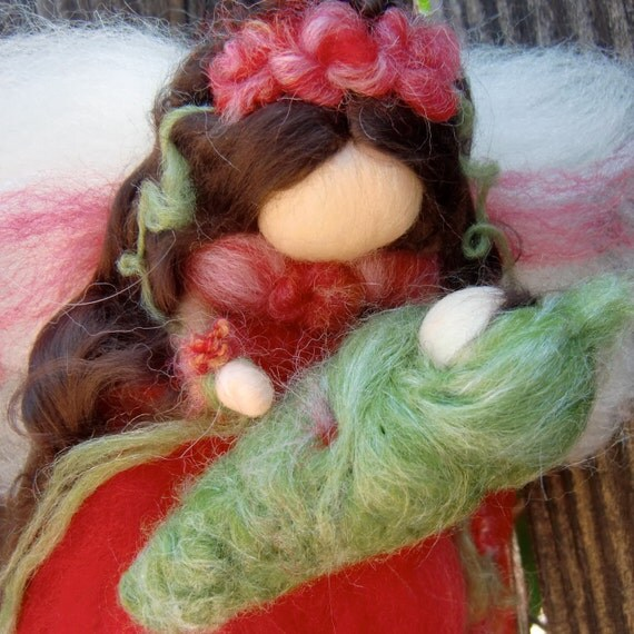 Reserved for Julie - Angel with Baby - Needle felted - Rose Red Fairy Waldorf  Steiner inspired by Rebecca Varon