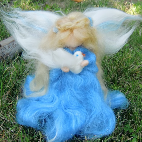 Needle Felted Wool Fairy Peace Angel Waldorf inspired by Rebecca Varon