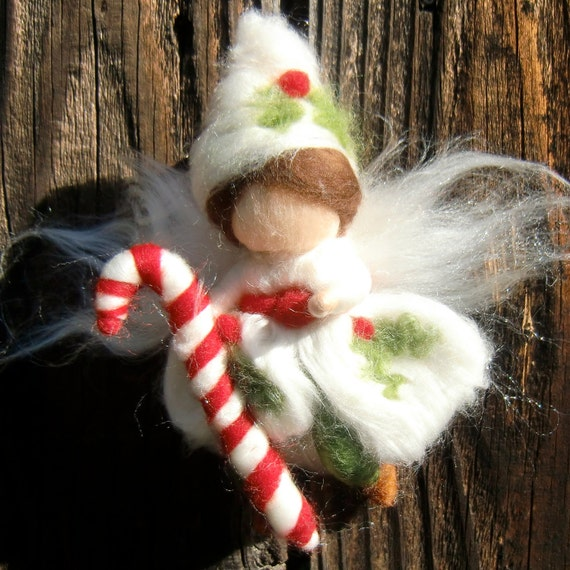 Christmas Ornament - Needle Felted Holly Fairy Boy Riding a Candy cane- Waldorf-inspired