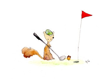 Squirrel and Golf (greeting card)