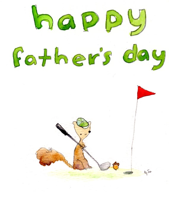 Golf Squirrel Father's Day (greeting card)