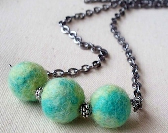 Aqua Lime Felted Woolen Beaded Silver Necklace