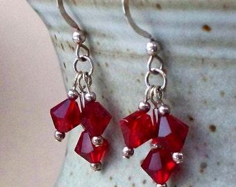 SALE - Ruby Red Swarovski Crystal Bicone Sterling Silver Drops
