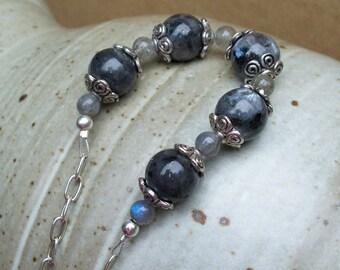 New England Fog - A Beaded Stone Necklace