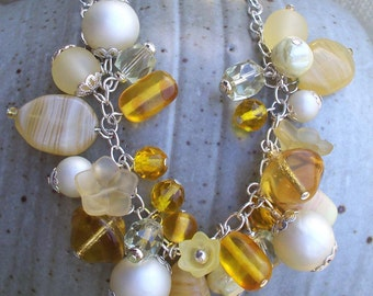 Buttercup - Yellow and Cream Beaded Necklace