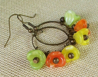So Citrus  -  Czech Glass and Brass Cluster Earrings