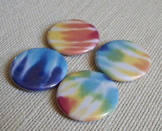 Tie Dyed - set of 4 button magnets