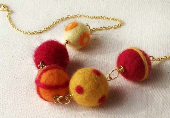 Fireball - A needle felted necklace