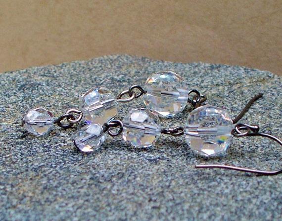 Black Ice -Vintage Crystal Earrings