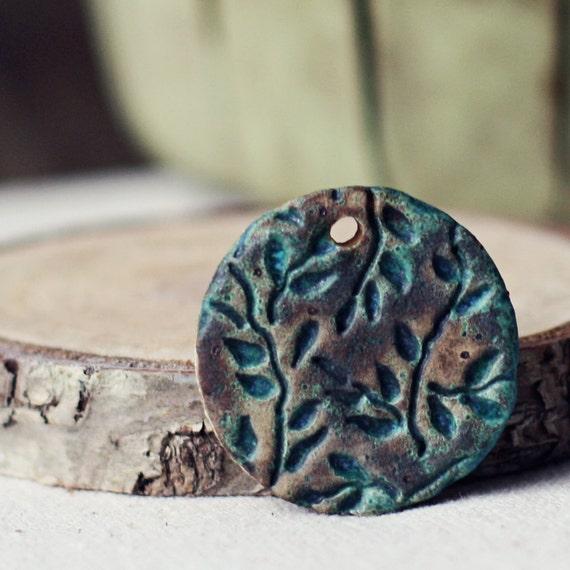 Vines- handmade ceramic focal pendant