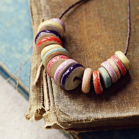 Carnival disk beads- handmade ceramic beads