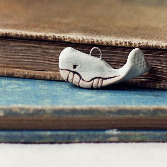 Stone whale- handmade ceramic charm