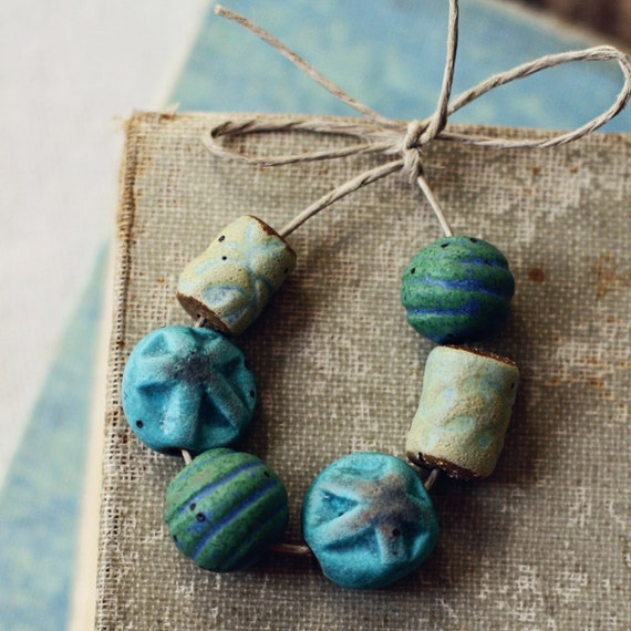 Caribbean- handmade ceramic bead set