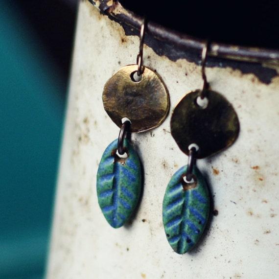Rainforest- earthy handmade ceramic earrings