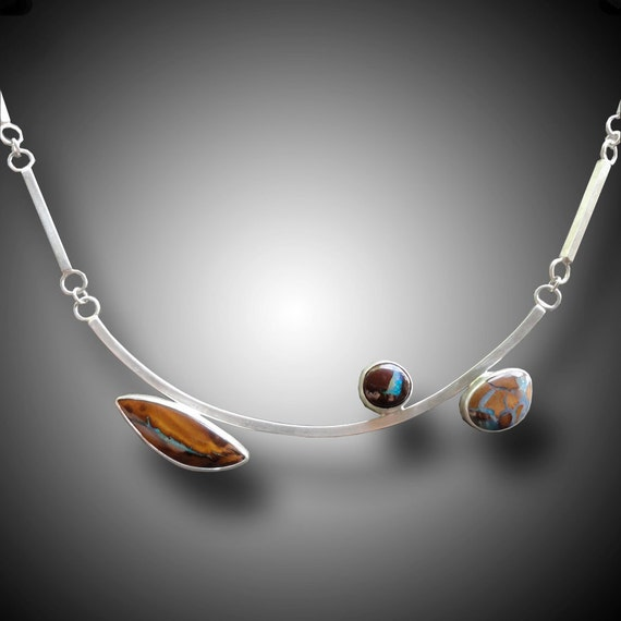 KOROIT OPAL Necklace Sterling Silver Necklace with  Koroit Boulder Opals