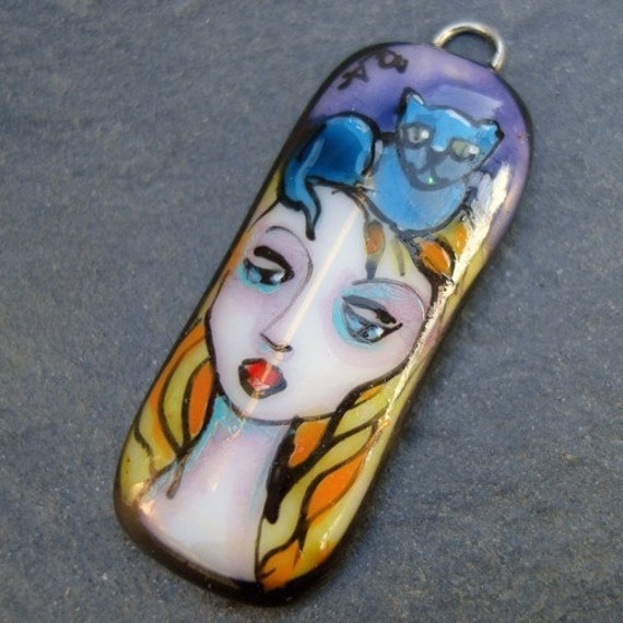 Xaos  Fused Glass Painted Pendant GIRL WITH CAT