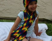 Child's Rainbow Hat and Scarf set - Free Shipping