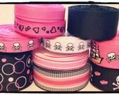 Grosgrain Ribbon Pirate Theme Skull & Crossbones Hot Pink, Black and White  Lot 10 yards