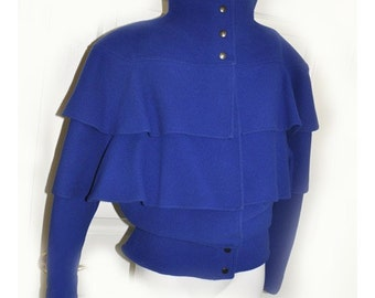 SALE Royal Blue Multi Layered Ruffled Cropped Coat