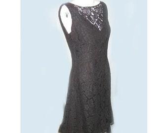 Early 1960's Fit Flare Black Lace Dress B34 W27