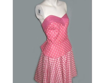 Vintage New Wave 80s Strapless PInk Checkered Polka Dot Ensemble