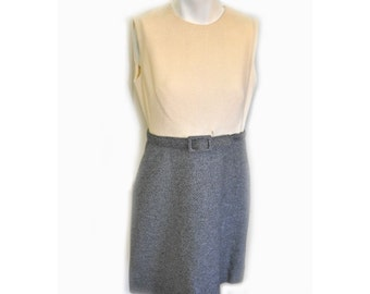 Vintage 1960's Grey and Cream Mini Dress Flippy Skirt Small