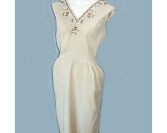 SALE Vintage 1950's Beaded Beige Dress B40 W32