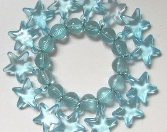 1980's Clear Blue Lucite Star Bracelet