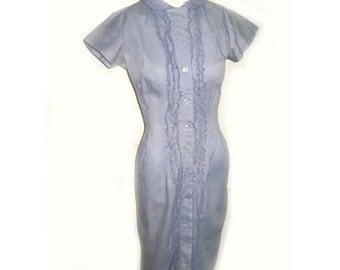1950's Cotton Ruffle Waitress Wiggle Dress