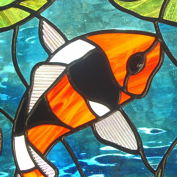 Orange Black and White Koi Fish Stained Glass Suncatcher with Lily Pads