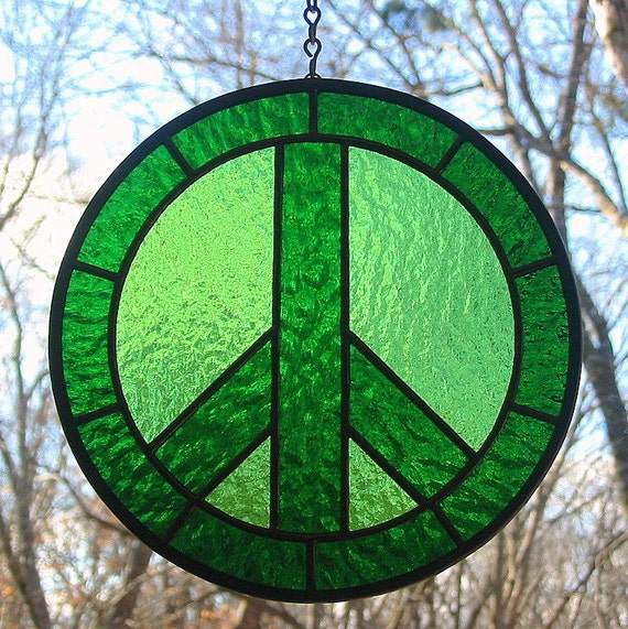 Emerald And Lime Green Stained Glass Peace Sign Suncatcher