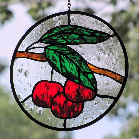 Stained Glass Red Cherries Suncatcher with Green Leaves